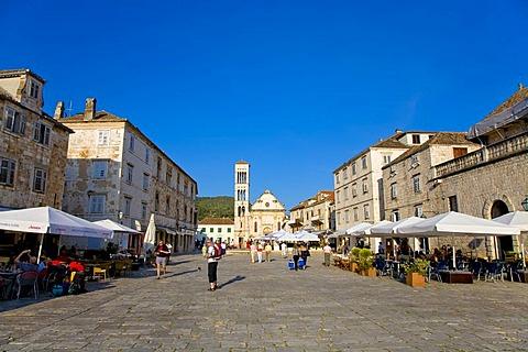 Main square in Hvar, Island Hvar, Dalmatia, Croatia
