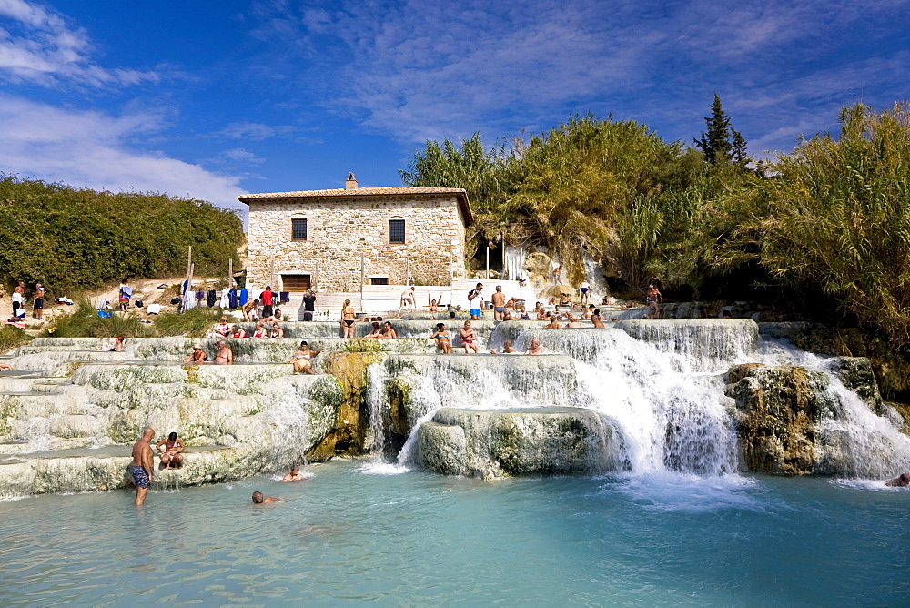 Thermal spring in Saturnia with sulphur-containing water of the Monte Amiata Manciano Toskana Italien