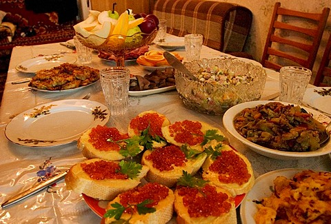 Traditional Russian Welcome food, Russian Food on a table, Russian Welcome Food, Omsk, Sibiria, Russia, GUS, Europe,