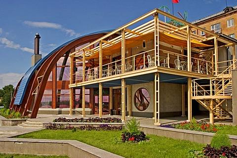 Restaurant at the Rivers promenadeOmsk, Sibiria, Russia, GUS, Europe,