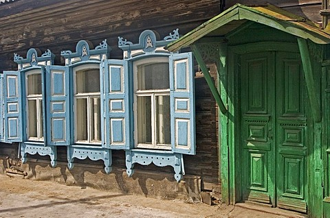 Entrance of an Old wooden Townhouse, Omsk at the Rivers of Irtisch and Omka, Omsk, Sibiria, Russia, GUS, Europe,