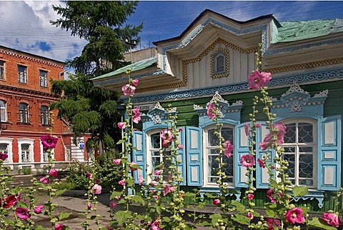 Summer flowers in front of beautiful Windows with Ornamentic Frames of old wooden houses, Omsk at the Rivers of Irtisch and Omka, Omsk, Sibiria, Russia, GUS, Europe,