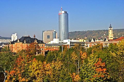 Jena in Autumn colours, Jena City of University Green City at the River Saale Founded in the 9 Century City Founded 1236 Founder Lords of Lobdeburg Market Place Region for Wine Growing, Jena, Thuringia, Germany, BRD, Europe,