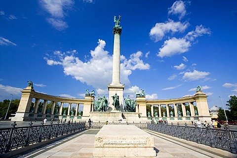 Heros Square with Millenium Memorial and the horseman Memorial from Prince Arpad, Budapest, Hungary, Southeast Europe, Europe,