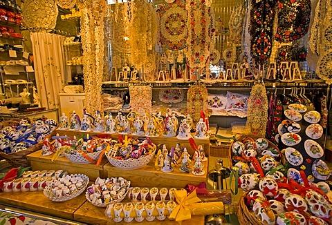 Glass and Porcelain Stall, Budapest, Hungary, Southeast Europe, Europe,