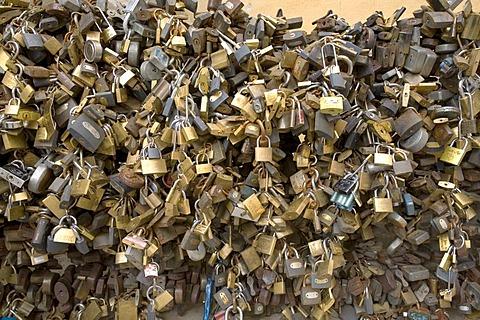 Padlocks for the love, Pecs, Southungary, Ungary, Southeast Europe, Europe,