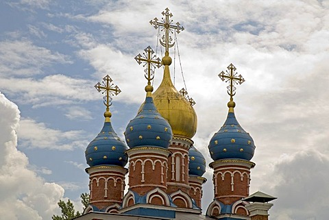 Towers of the church of the Monastery of Mary's vision, Moscow, Russia, East Europe, Europe