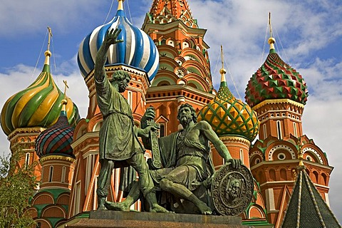 Mary's Protection Cathedral or Basilius Cathedral2, The Memorial of Minin und Pozarskij, Moscow, Russia, East Europe, Europe
