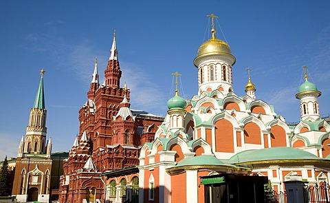 At the Red Square, Kazan Cathedral, in the back the Historical Museum and the Nikolaj Gate, Moscow, Russia, East Europe, Europe