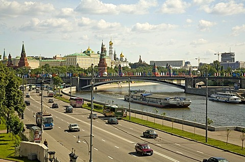 View from the Bridge over the Moscva to Down Town, the Kreml and the Government Buildings, Moscow, Russia, East Europe, Europe