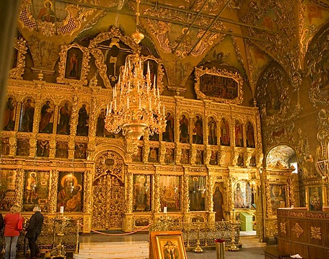 Interior of the Trinity Cathedral, Sergiyev Posad, Moscow Oblast, Russia