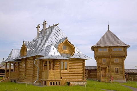 Wooden houses of the hotel, Diveyevo Slobodca, Russia