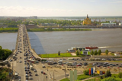 Oka bridge to the trade fair centre, Aleksandr Nevsky Cathedral, Nizhny Novgorod (Gorky), Russia