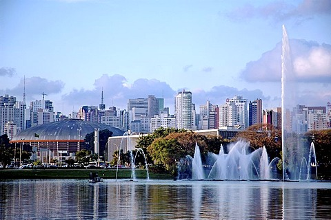 "Fountain in the Ibirapuera Park in the Southern Zone of Sao Paulo, Brazil. In the background the skyline of ""Zona Sul"""