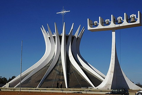 "The cathedral ""Nossa Senhora da Aparecida"" in Brasilia, Brazil. The cathedral was designed by the Architect Oscar Niemeyer"