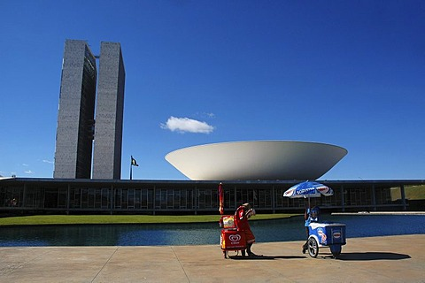 Iceman in front of the congress building (congresso nacional) in Brasilia, Brazil. The building was designed by the Architect Oscar Niemeyer.