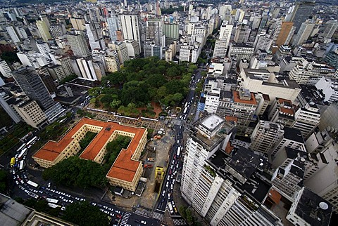 Skyline of Sao Paulo, Brazil. View on the Praca da Rebublica