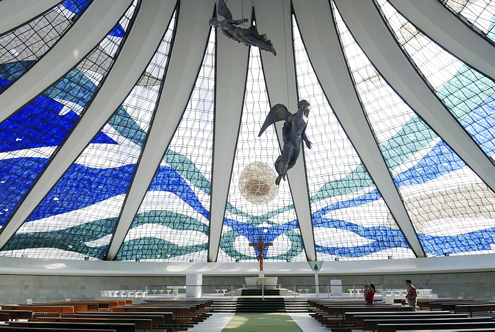 "Inside the cathedral ""Nossa senhora da Aparecida"", Brasilia, Brazil. Architect: Oscar Niemeyer"