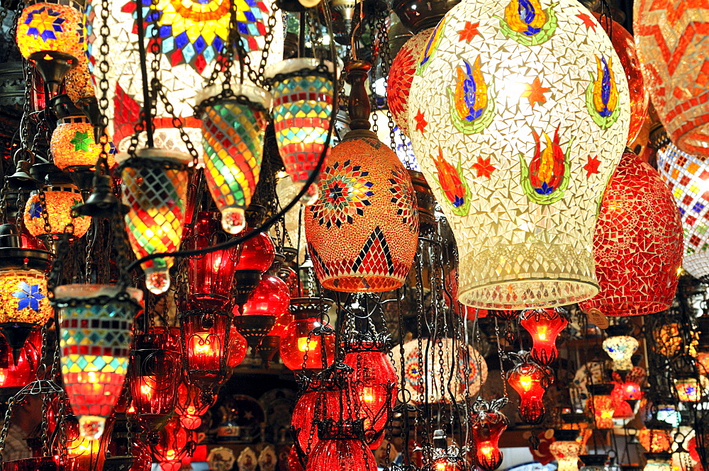 Bright colourful glass lamps sold at the Grand Bazaar in Istanbul, Turkey - 832-296247