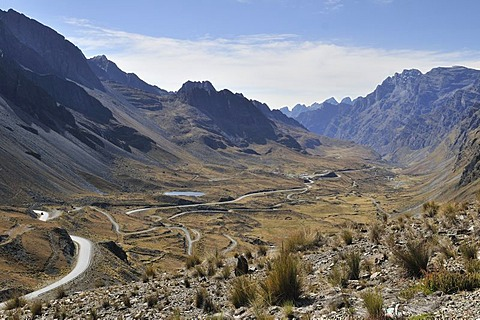 Landscape in the Andes with Deathroad, Altiplano, La Paz, Bolivia, South America