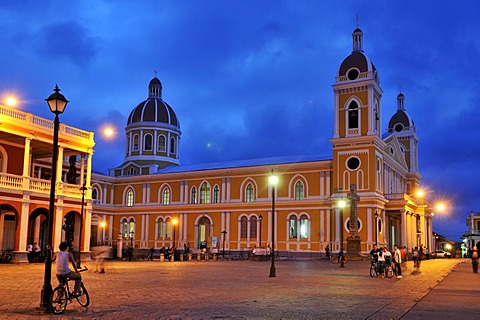 Cathedral at night, Granada, Nicaragua, Central America