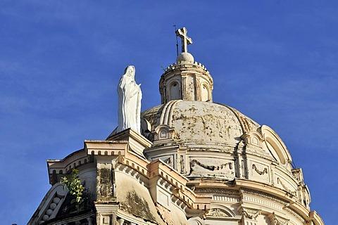 Statue of Mary and Dome, La Merced Church, Granada, Nicaragua, Central America