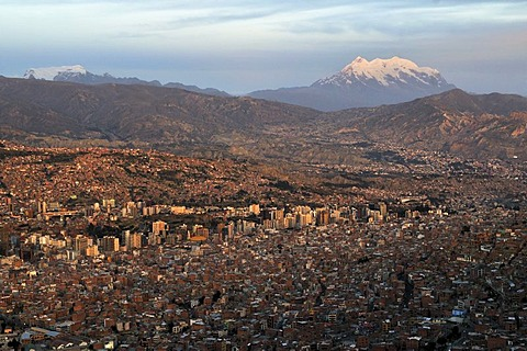 View over La Paz towards the glaciers on the Illimani mountain, 6439m, Bolivia, South America