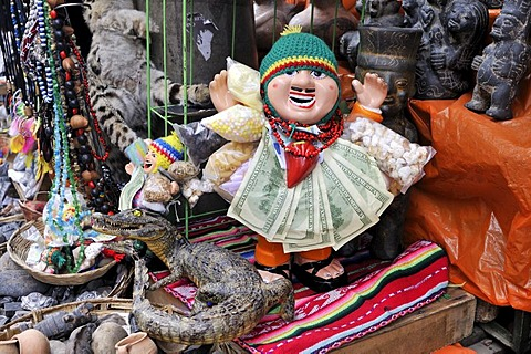 Puppet of a man with cash notes, lucky charm at the stall of a witch, La Paz, Bolivia, South America