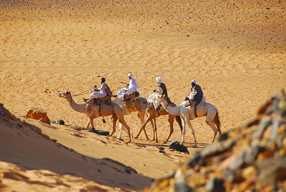 Nomads on camels, Meroe, Sudan
