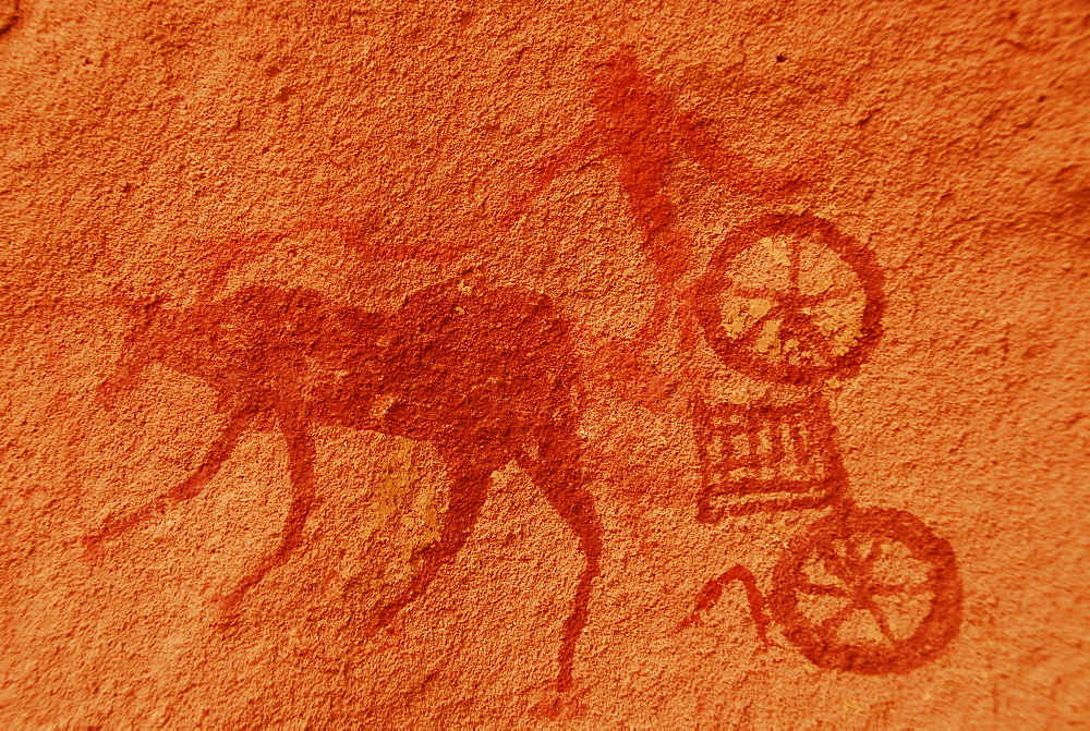 Rock painting of a Garamant ox wagon, Akakus mountains, Libya