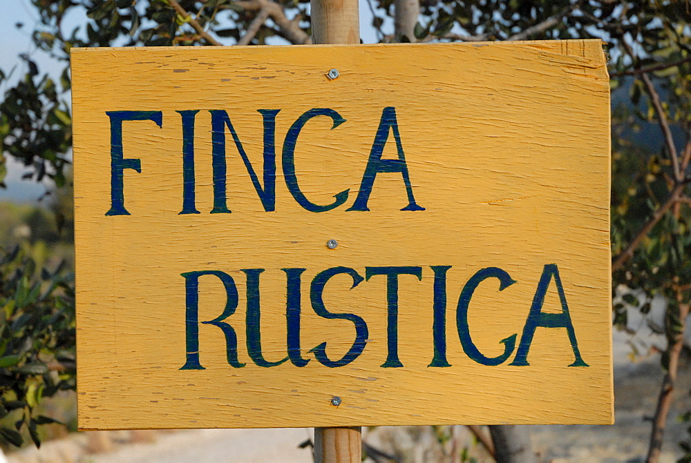 "Sign for the ""finca rustica"" country house near Jalon, Costa Blanca, Spain, Europe"