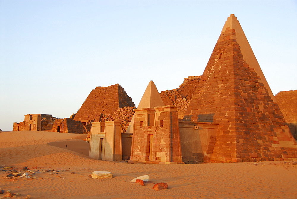 Pyramids in the morning light, Meroe, Sudan, Africa