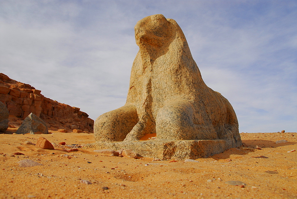 Sphinx in front of Amun Temple at Djebel Barkal, near Karima, Sudan, Africa