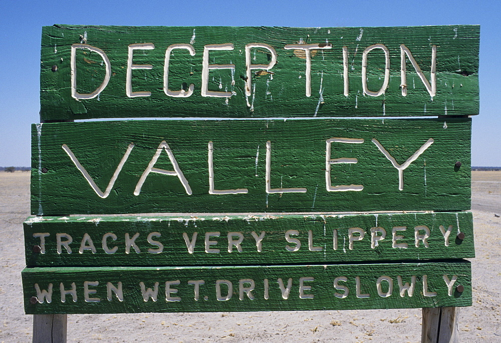 Sign: 'Deception Valley', Central Kalahari Game Reserve, Botswana, Africa
