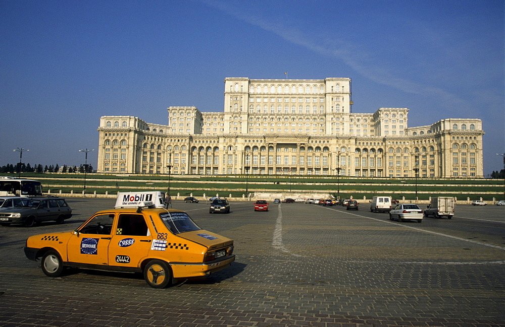 Monument to megalomania, the former palace of Ceausescu, now the Palace of the Parliament, Bucharest, Romania, Europe