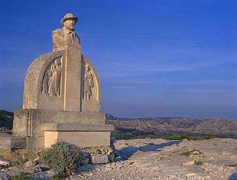 Monument Charloun Rieu (1846-1924), Les Baux de Provence, France, Southern France, Provence