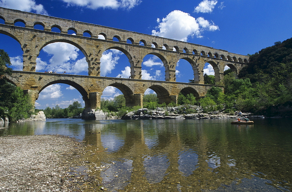 Roman aqueduct Pont du Gard near Remoulins, France, Provence