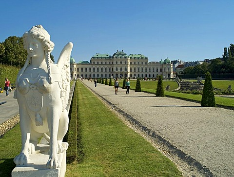 Sphinx in front of the Belvedere Palace, Vienna, Austria, Europe
