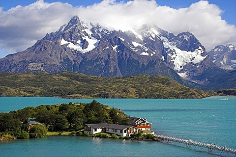 Hosteria Pehoe at Pehoe Lake, Torres del Paine National Park, Patagonia, Chile