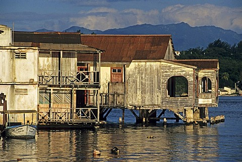 Old wooden buildings at Cayo Granma island near Santiago de Cuba, Cuba