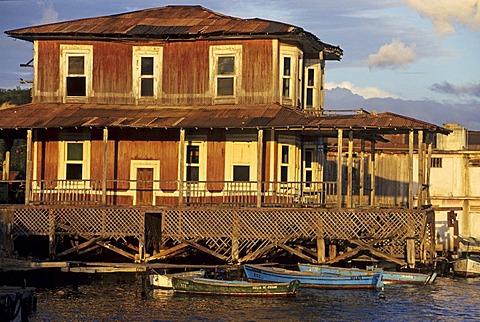 Old wooden building at Cayo Granma island near Santiago de Cuba, Cuba