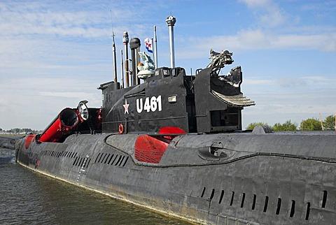 Russian submarine at the port of Peenemuende, Usedom island, Mecklenburg Western Pomerania, Germany, Europe