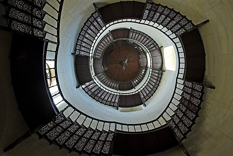 Spiral staircase at the hunting seat Schloss Granitz, Ruegen island, Mecklenburg Western Pomerania, Germany, Europe