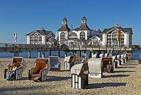 Pier at the Baltic Sea at Sellin, Ruegen island, Mecklenburg Western Pomerania, Germany, Europe