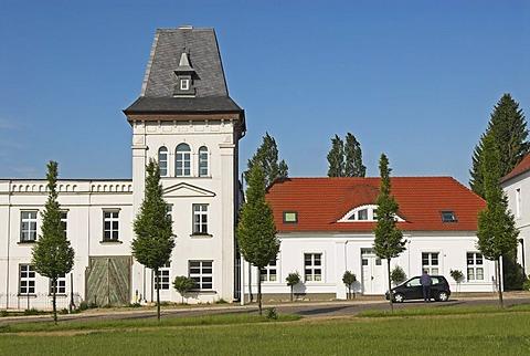 Architecture at the market place of Putbus, Ruegen island, Mecklenburg Western Pomerania, Germany, Europe