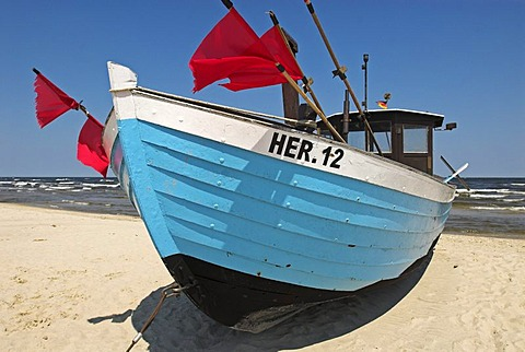 Fisher boat at the beach of Heringsdorf, Usedom island, Mecklenburg Western Pomerania, Germany, Europe