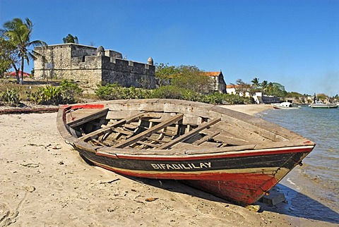 Fishing boat at the beach of Ibo Island, Quirimbas islands, Mozambique, Africa