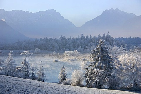 Morning with hoar frost, Sieben Quellen springs in front of Zugspitze mountain, Bavaria, Germany, Europe