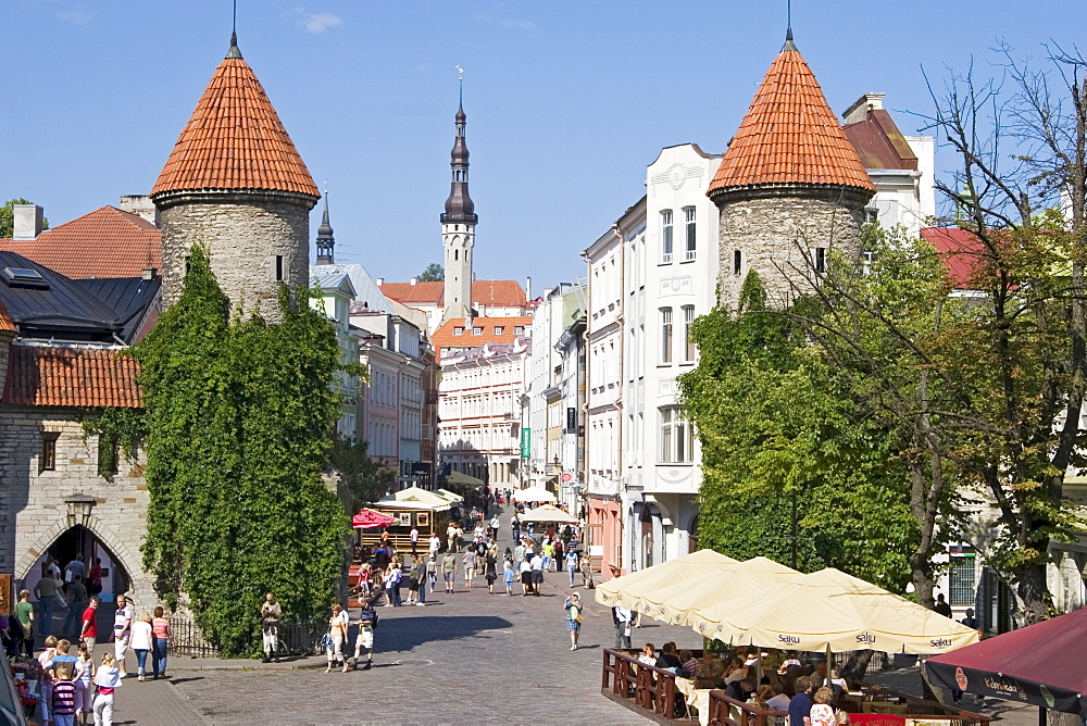 Loam gatway and view of the historic centre in Tallinn, Estonia, Europe