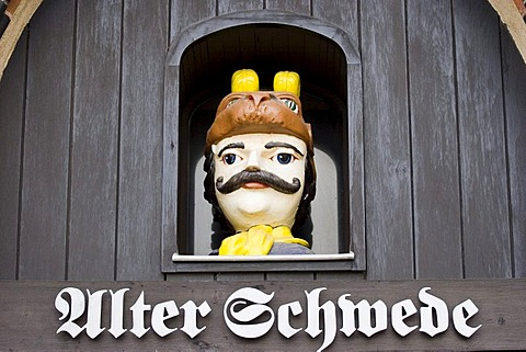 Facade of the restaurant alter schwede at the marketplace in the old town of wismar, mecklenburg-vorpommern, germany.